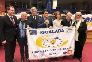 Igualada rep al Parlament Europeu la distinció de Ciutat Europea de l'Esport 2019