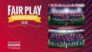 Premi Barça Jugadors 2020 al joc net per als primers equips de futbol del FC Barcelona